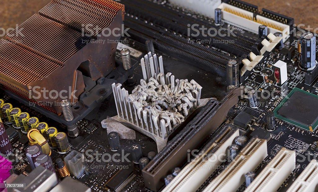 overheated computer part stock photo