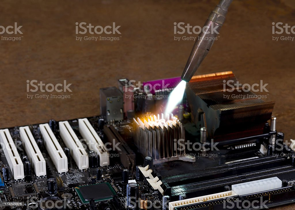 overheating a heat sink on computer board royalty-free stock photo