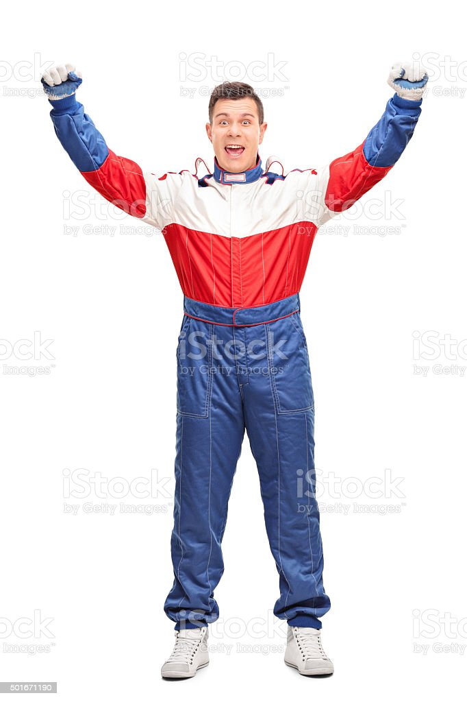 Overjoyed car racer gesturing happiness stock photo