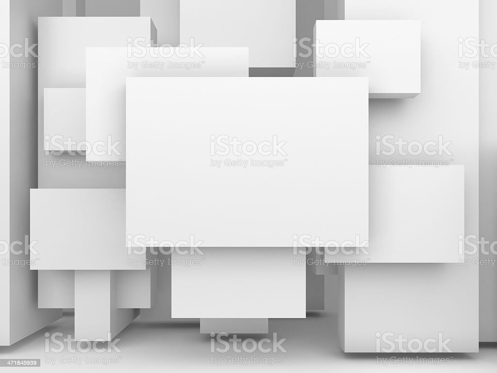 Overlapping blank, white advertising panels stock photo