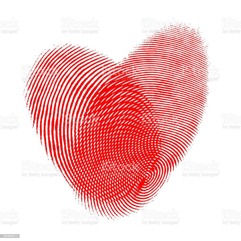Overlapping fingerprints forming heart shape stock photo