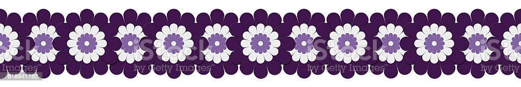 Overlapping textured purple flowers form border stock photo