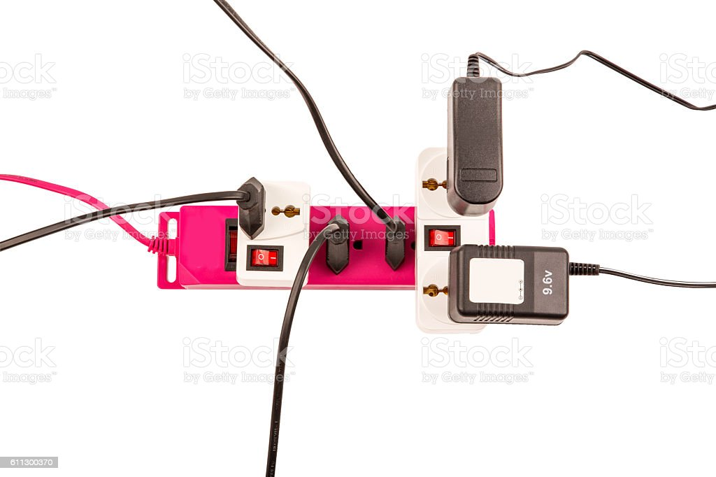 overloaded electric power bar stock photo