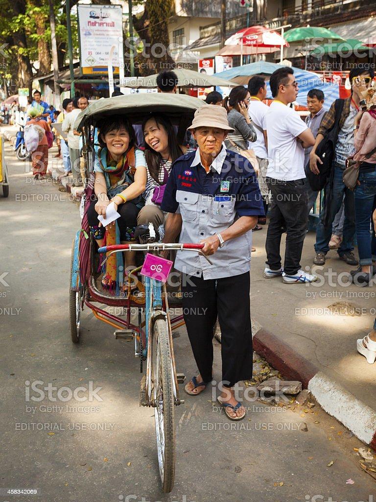 Overloaded motorbike, Mae Sai, Thailand royalty-free stock photo