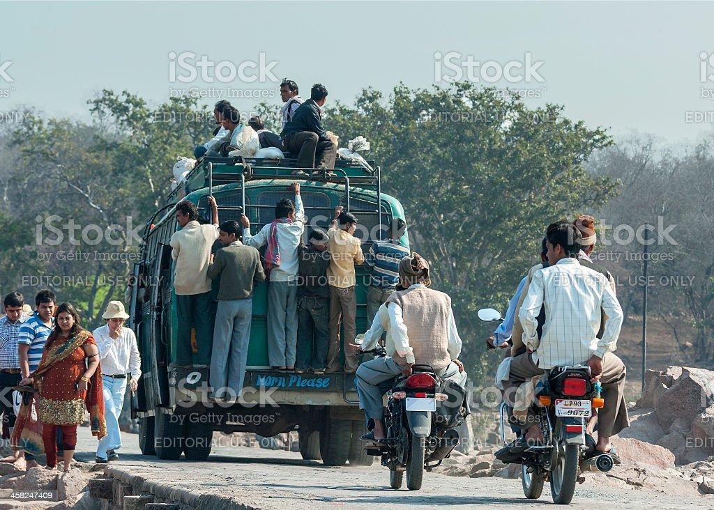 Overloaded public transport. stock photo