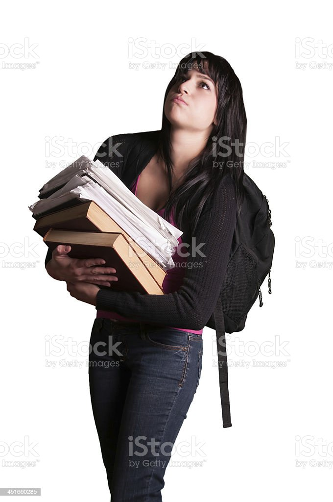 Overloaded tired university college student holding books exam school stock photo