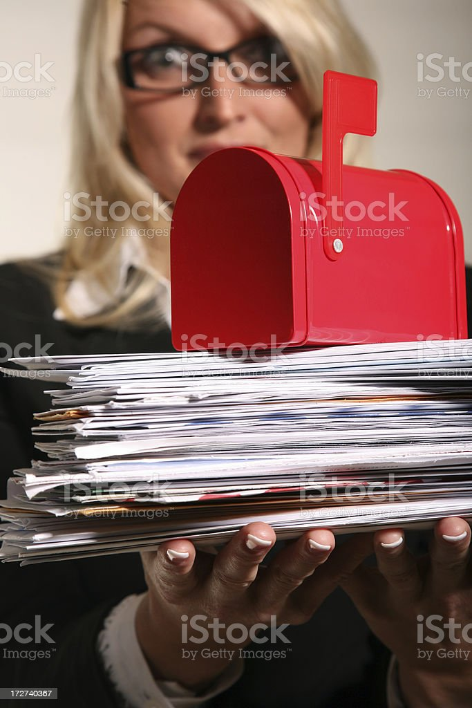Overloaded with Junk Mail royalty-free stock photo