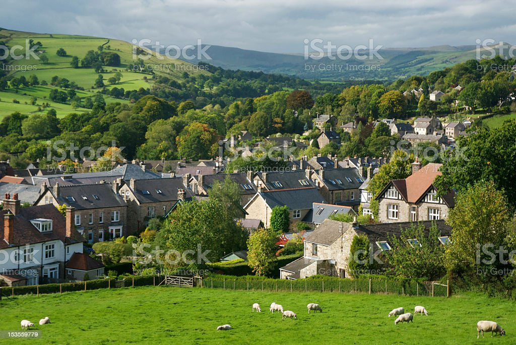 Overlook of a English rural village on a sunny day stock photo