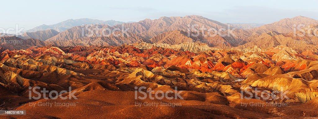 Overlook of Danxia Landforms stock photo