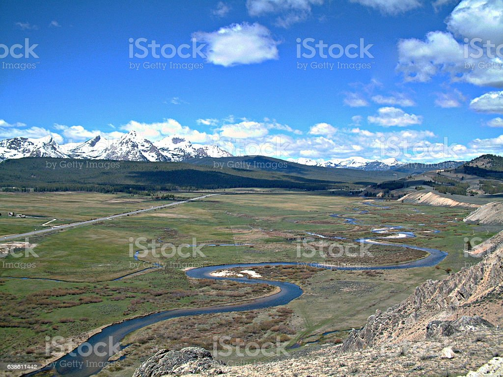 Overlook of Stanley, Idaho and the Sawtooth Mountains 3 stock photo