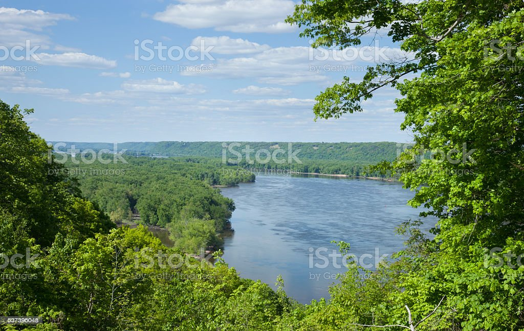 Overlook of the Mississippi River near Guttenberg, Iowa stock photo