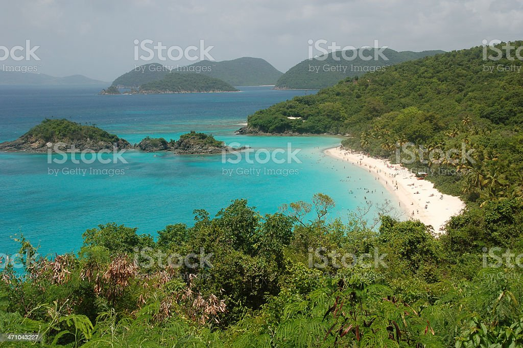 overlook of Trunk Bay stock photo