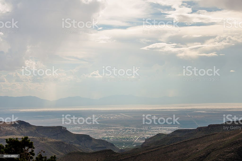 Overlook of Tularosa Basin, White Sands, and Alamogordo, New Mexico stock photo