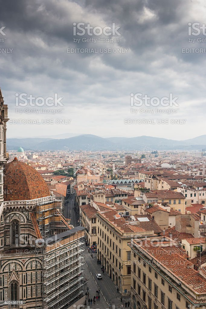 Overlook on Florence (Italy) from the Giotto's belfry stock photo