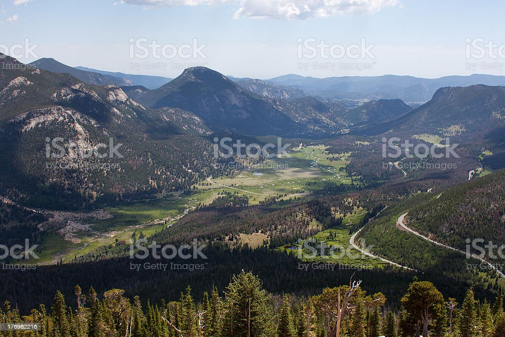 Overlook over the Rocky Mountains valley royalty-free stock photo