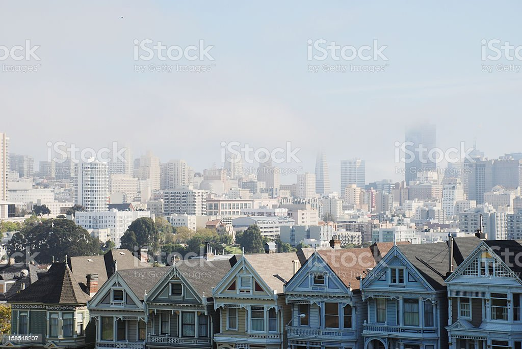 Overlook San Francisco from Alamo square stock photo