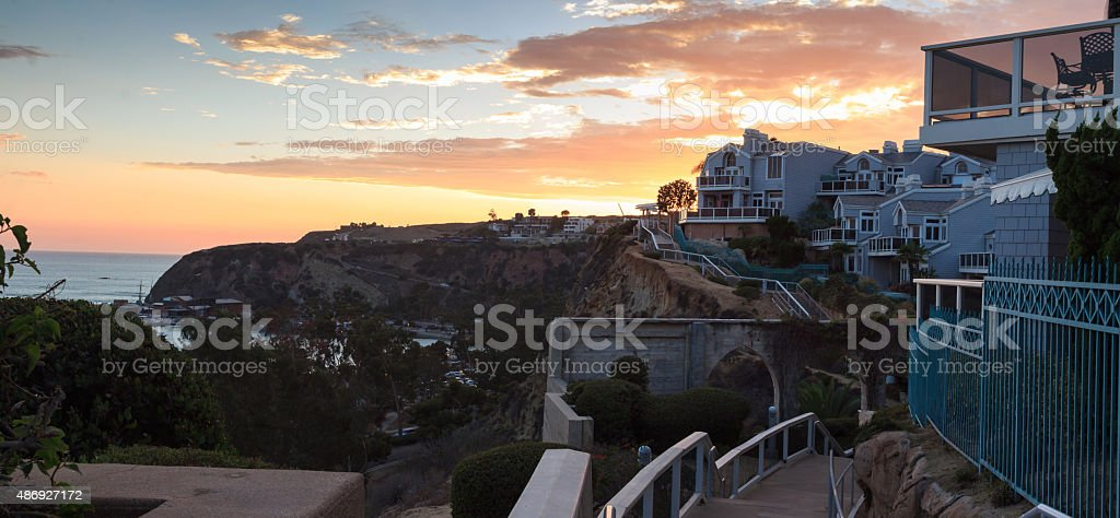 Overlook walkway of Dana Point Harbor at sunset stock photo