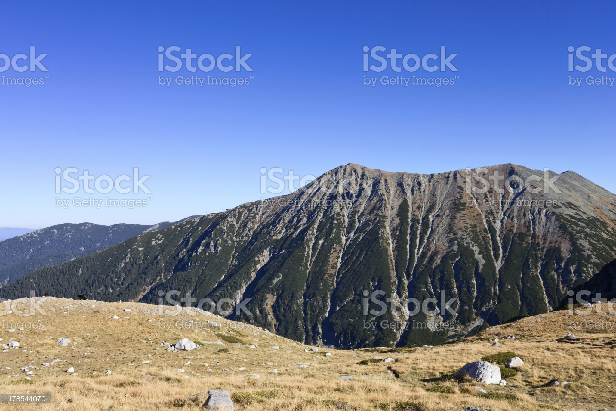 Overlooking a beautiful peak in mountain royalty-free stock photo