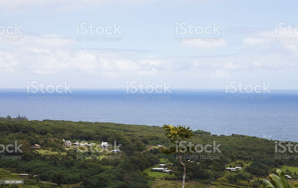 Overlooking a small town on Maui Hawaii royalty-free stock photo
