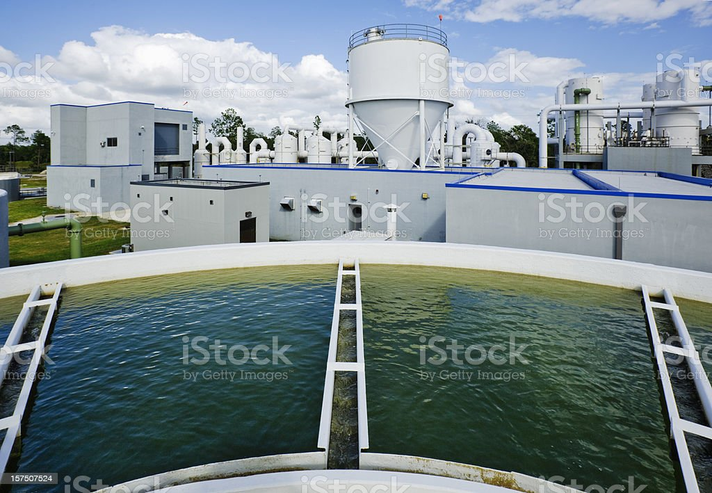 Overlooking a Water Tank at Water Treatment Plant stock photo