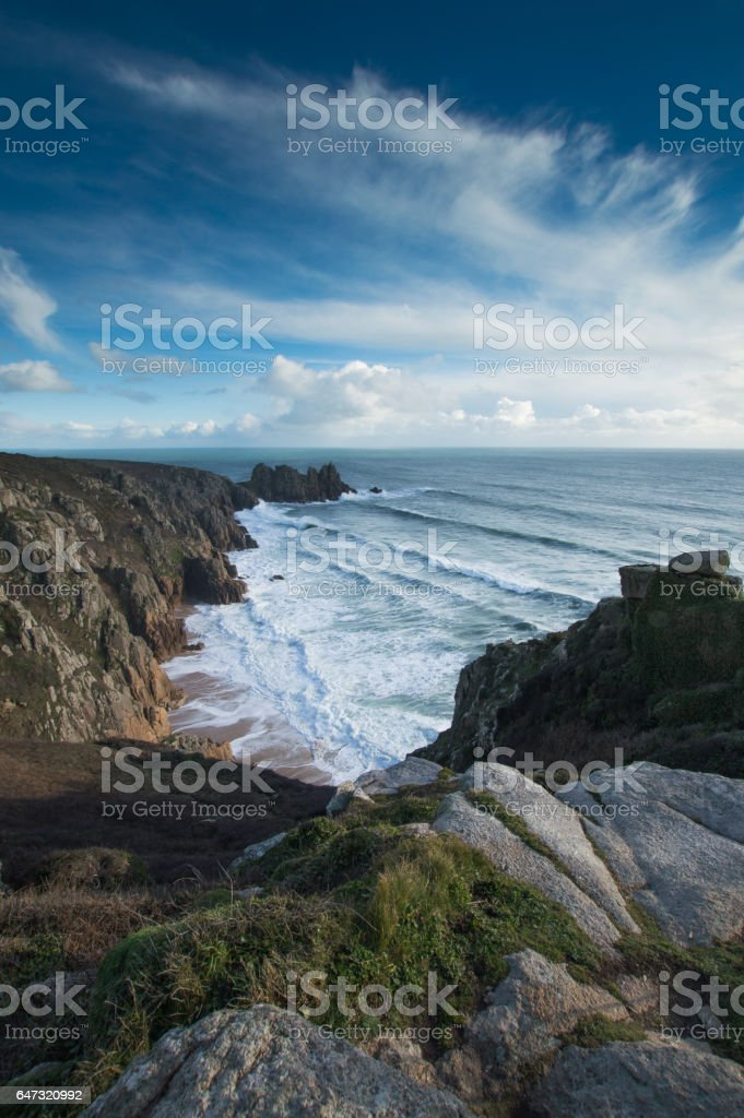 Overlooking Bay at St Just, Cornwall stock photo