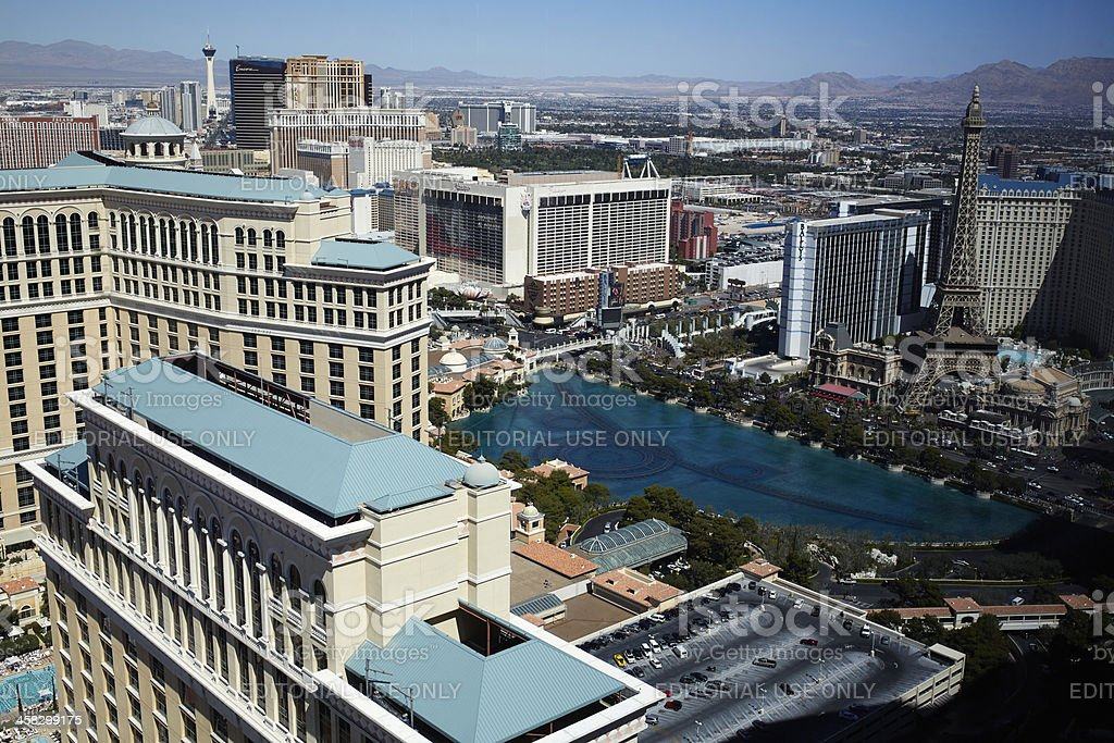 Overlooking Bellagio Fountain Pool and Skyline, Las Vegas royalty-free stock photo