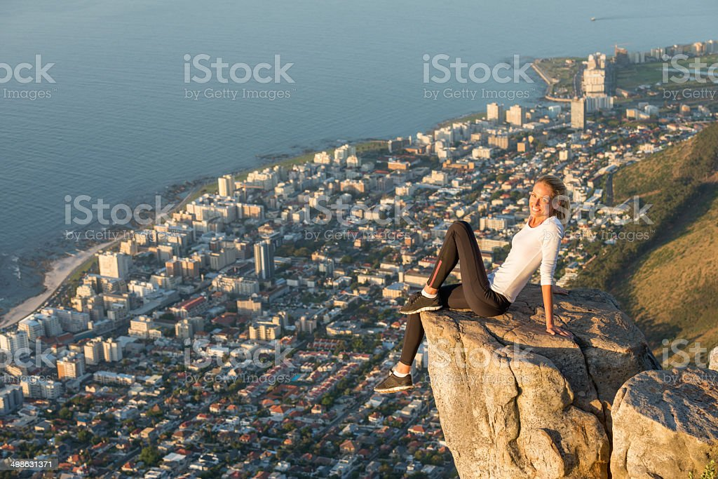 Overlooking Cape Town from Lion's Head stock photo