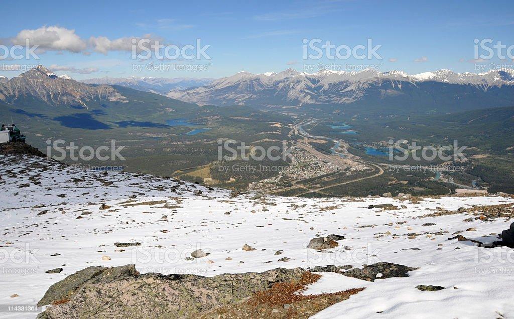 Overlooking Jasper town from Whistler Mountain,Jasper ,Canada stock photo