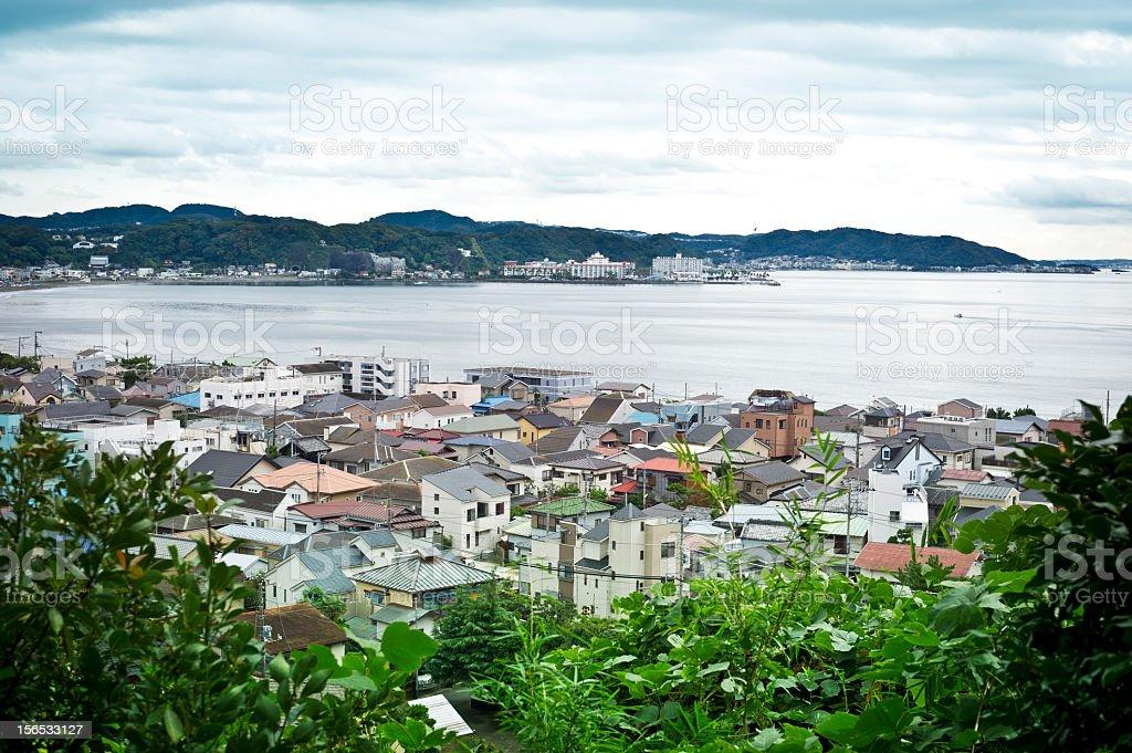 Overlooking  Kamakura and Sagami Bay, Japan stock photo