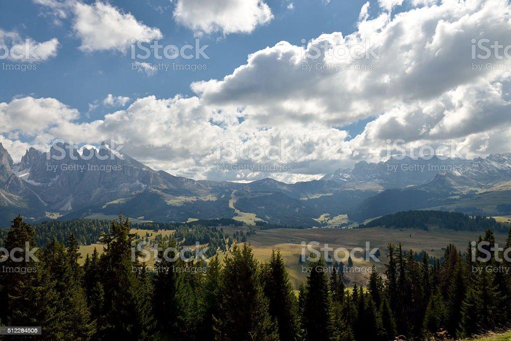 Overlooking mountains Rosengarten stock photo