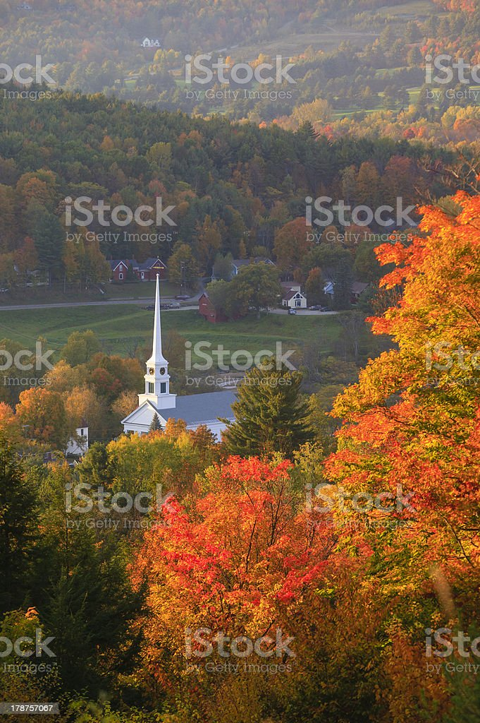 Overlooking Stowe Community Church in the autumn. stock photo
