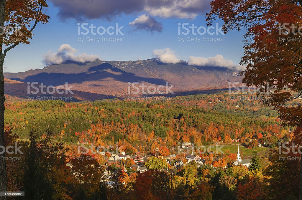 Overlooking Stowe village in the fall stock photo