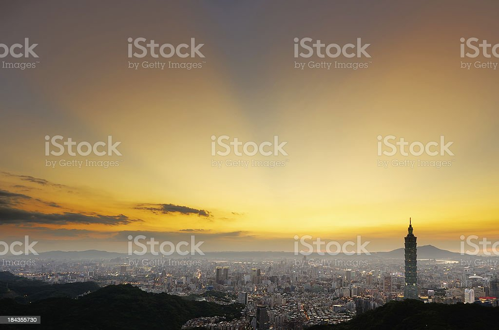 Overlooking Taipei 101 tower and the city during sunset stock photo