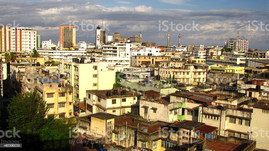 Overlooking the ancient city of Mombasa stock photo