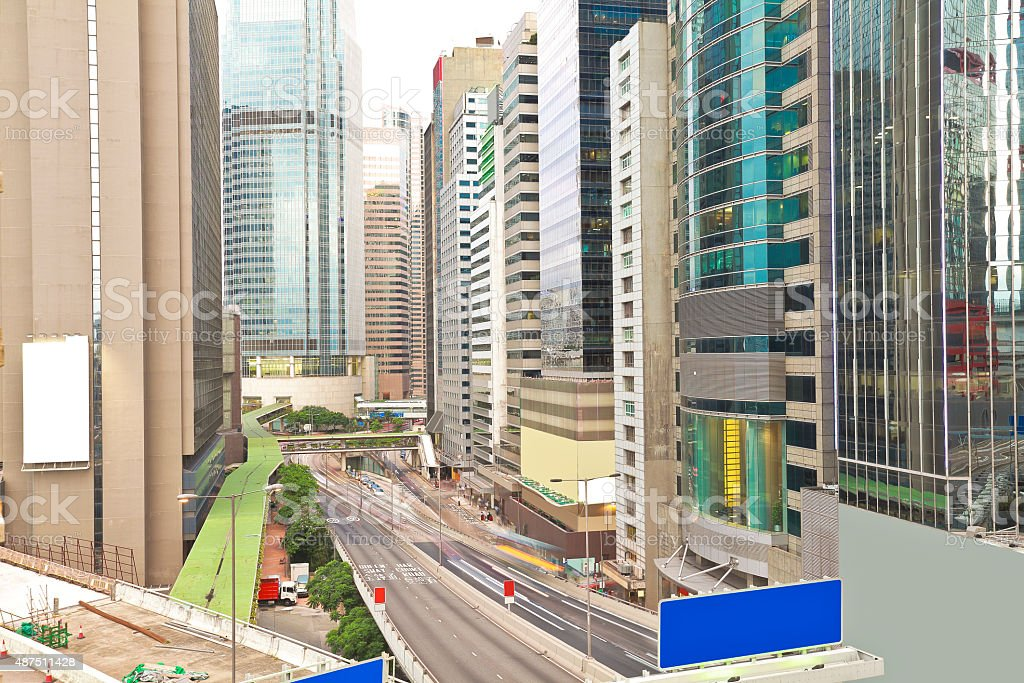 Overlooking the city road traffic buildings scenery of hongkong stock photo