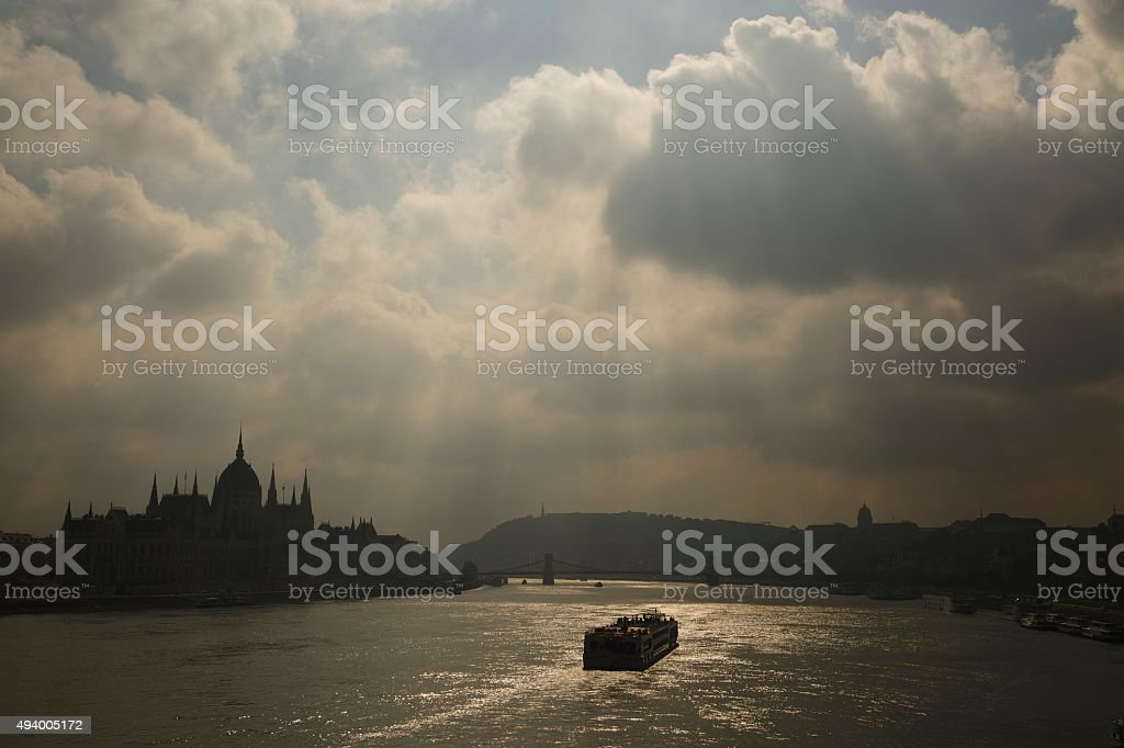Overlooking the Danube. stock photo