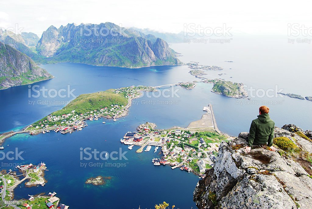 Overlooking the fjord stock photo