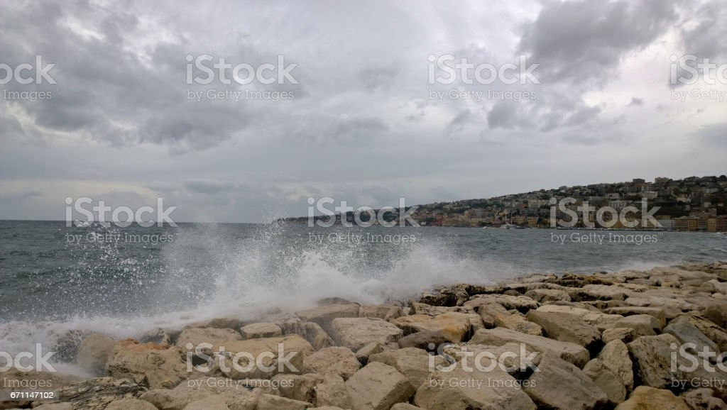 Overlooking the Gulf of Naples in windy weather stock photo