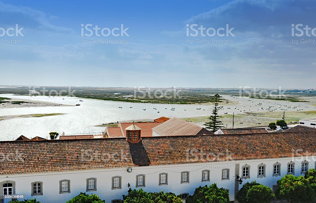 Overlooking the lagoon,Faro,Algarve,Portugal stock photo