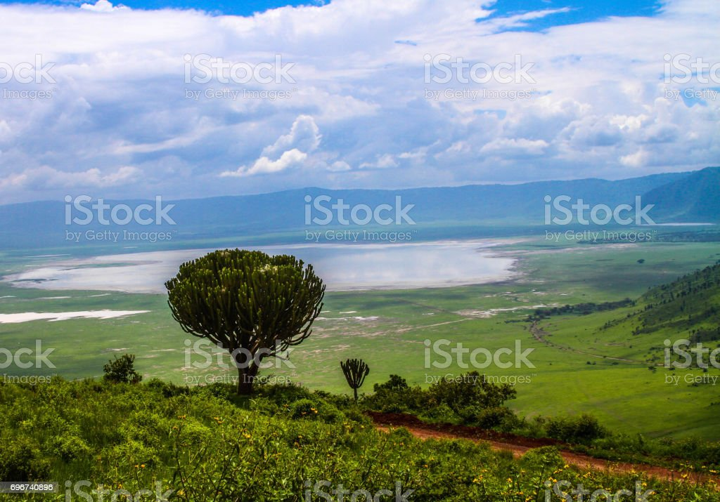 overlooking the lake in Ngorongoro Crater stock photo