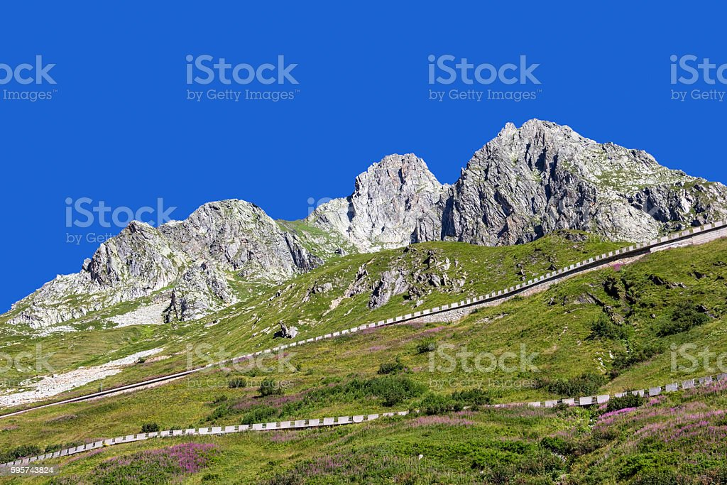 Overlooking the Mountain to the Great St. Bernhard Pass stock photo