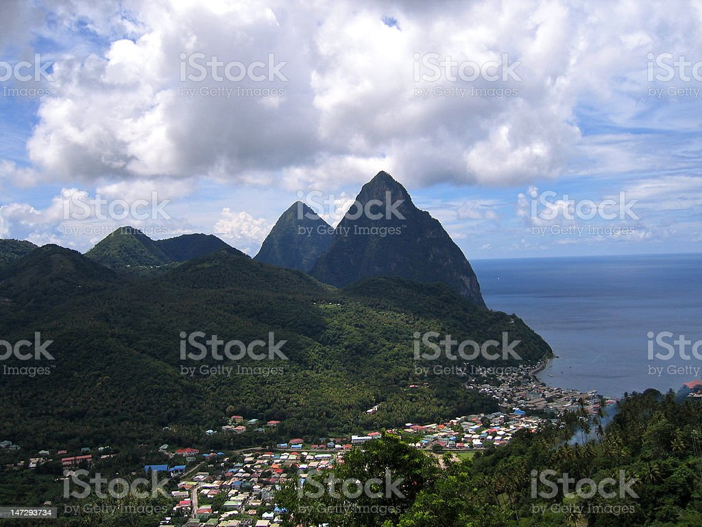 Overlooking the Pitons and Soufrière, St Lucia stock photo