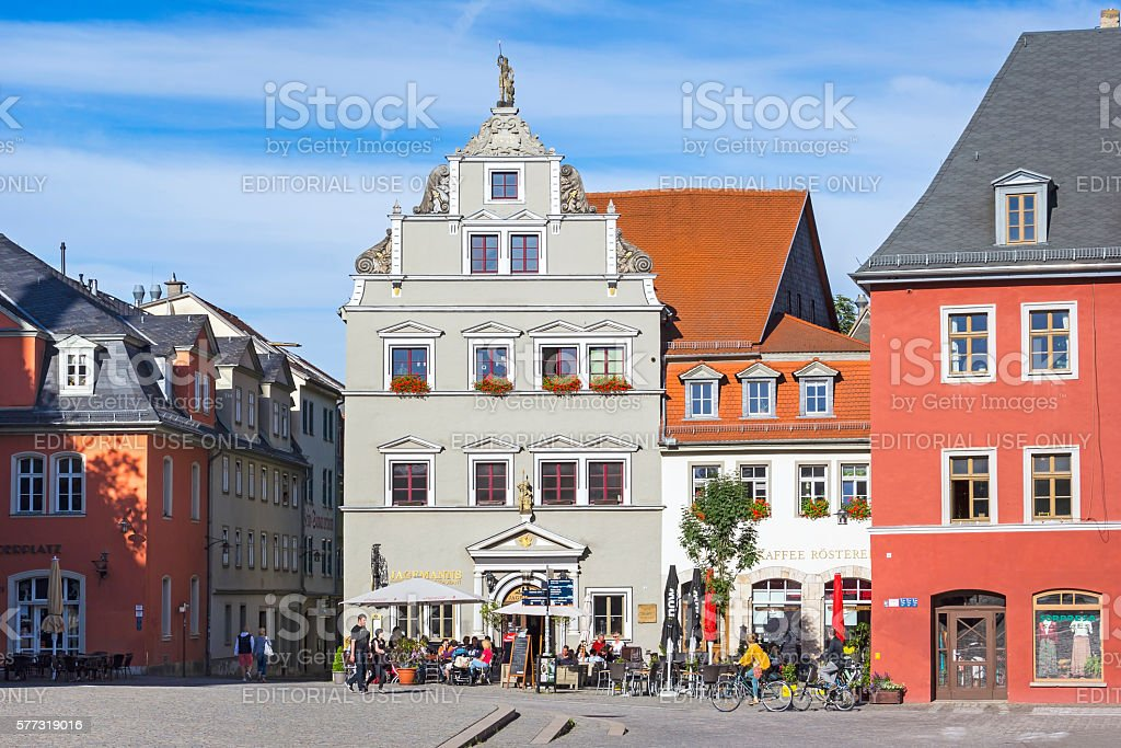 Overlooking the restaurant Jagemanns, on Herderplatz, Weimar stock photo