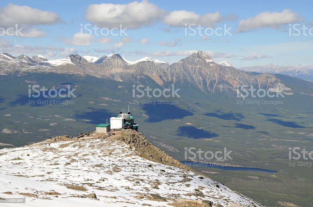 Overlooking the valley from Mount Whistler,Jasper,Canada stock photo