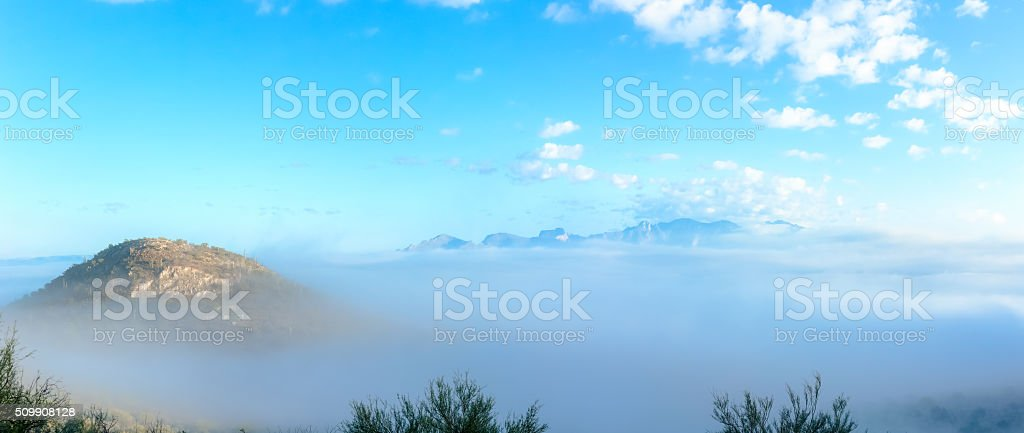 Overlooking Tucson from Sentinel Peak on an Early Foggy Morning stock photo
