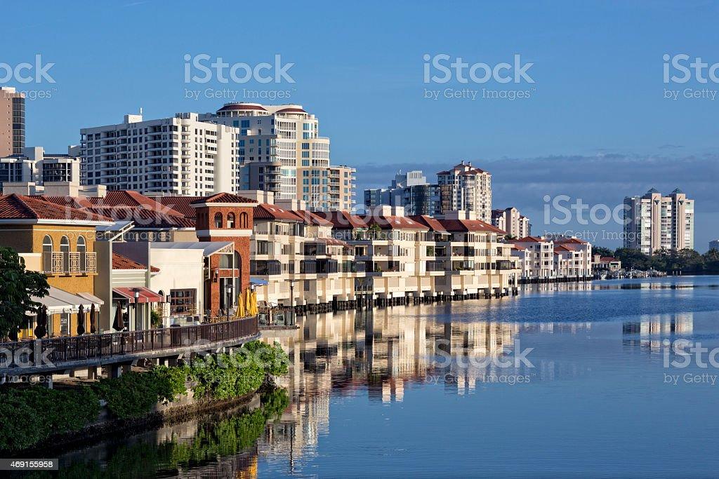 Overlooking Venetian Bay and Venetian Village in Naples stock photo