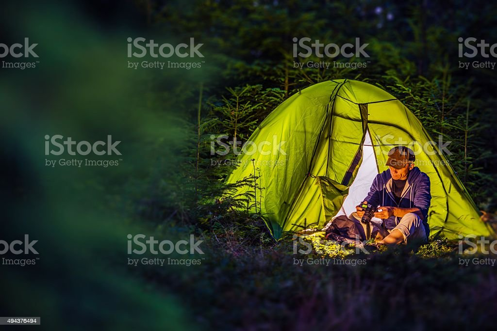Overnight Forest Camping stock photo