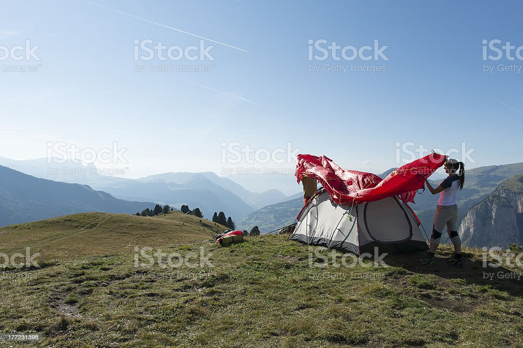 Overnight in mountains and set up tent royalty-free stock photo