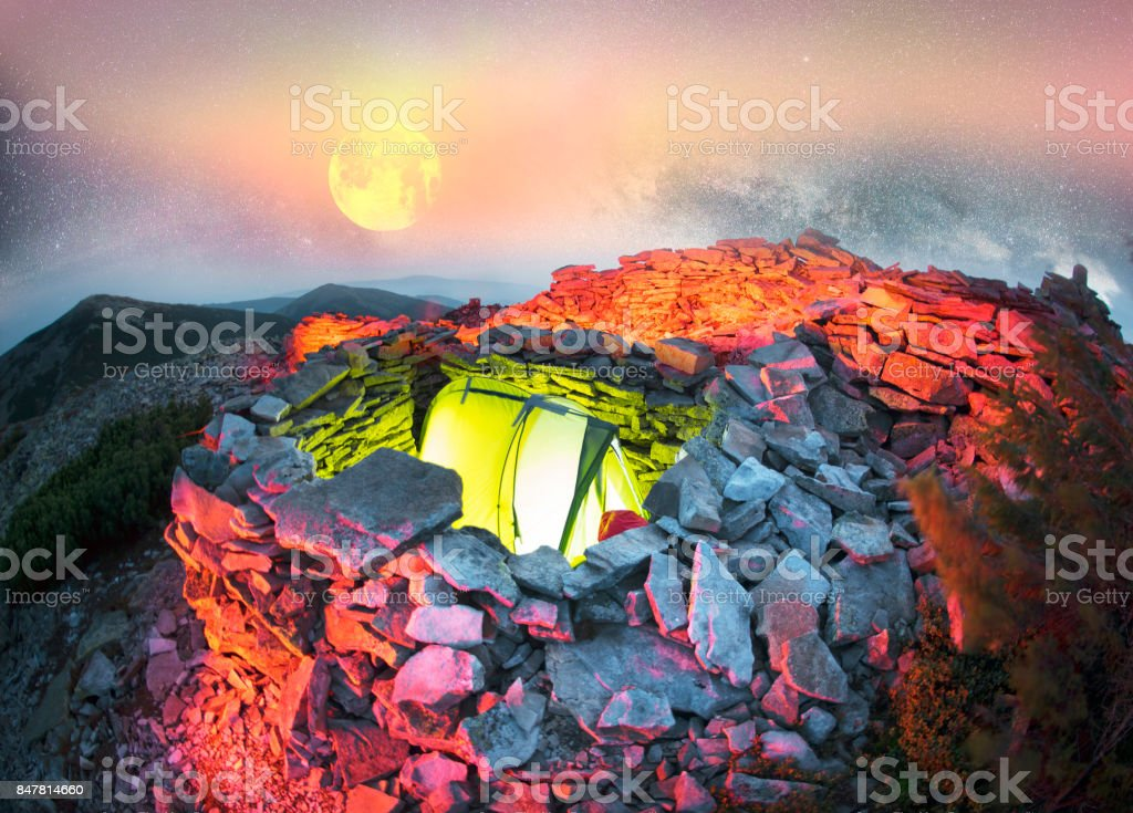 Overnight in the ancient trenches stock photo