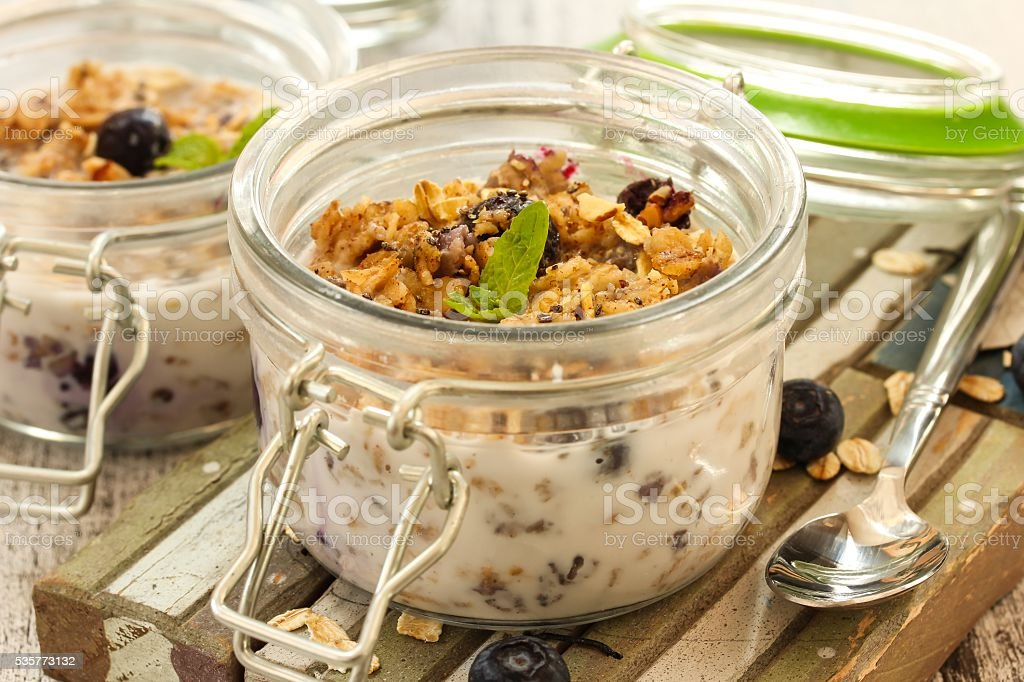 Overnight oats in a jar stock photo